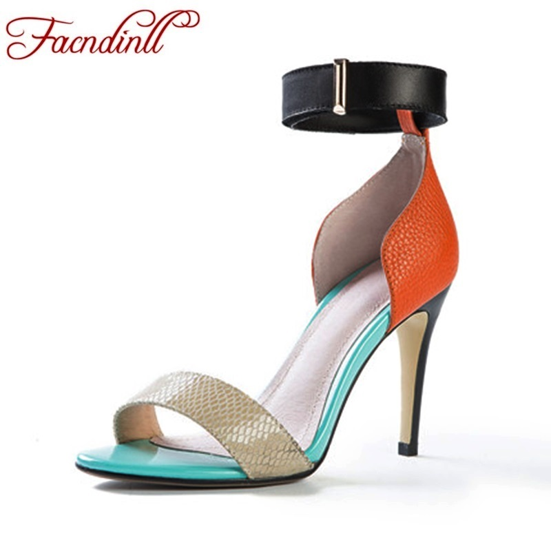FACNDINLL mixed color women shoes thin high heels women buckle fretwork sexy open toe leather sandals ladies beach dress shoes<br>