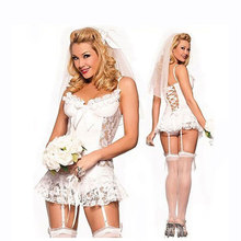 New Style White Lace Bridal Wear Wedding Dress Sexy Lingerie Cosplay Porn Women Sexy Lingerie Hot Erotic lingerie