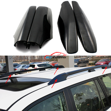 Black ABS Roof Rack Bar Rail End Protection Cover Shell 4PCS For Toyota Land Cruiser Prado Fj120 2003 - 2009(China)