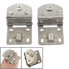2 Pcs Replacement Part Wall to Glass Alloy Hinge Silver Tone