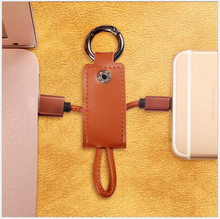 Latest Key Ring Fine copper USB Micro-USB Charge & DATA line Cable for Android devices(China)