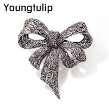 Young tulip Vintage Rhinestone Bow Brooches for Women Black Bowknot Brooch Pin Fashion Jewelry Coat Accessories Winter Ornament(China)