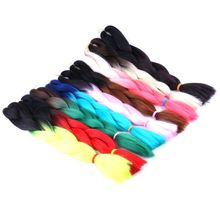 "Luxury For Braiding 10pcs/lot 100g/pc 24"" Black Neon Two Tone Ombre Kanekalon Braiding Hair Synthetic Crochet Jumbo Braids"