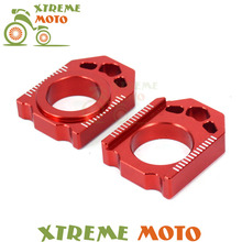 CNC Red Axle Block Chain Adjuster For Honda CR125R CR250R CRF150R CRF250R CRF250X CRF450R CRF450X Dirt Pit Bike Motorcycle(China)