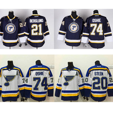 Men's 20#  Alexander Steen 74# TJ Oshie hockey jerseys cheap Navy Blue Alternate Premier White Away Jersey 100% stitched