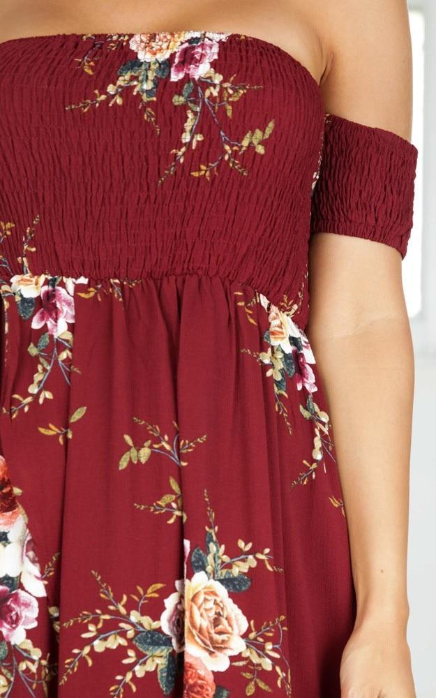 LOSSKY Off Shoulder Vintage Print Maxi Summer Dress 34