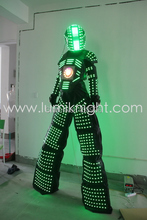LED Robot suit with LED screen in Chest and Digital LEDs in helmet(China)