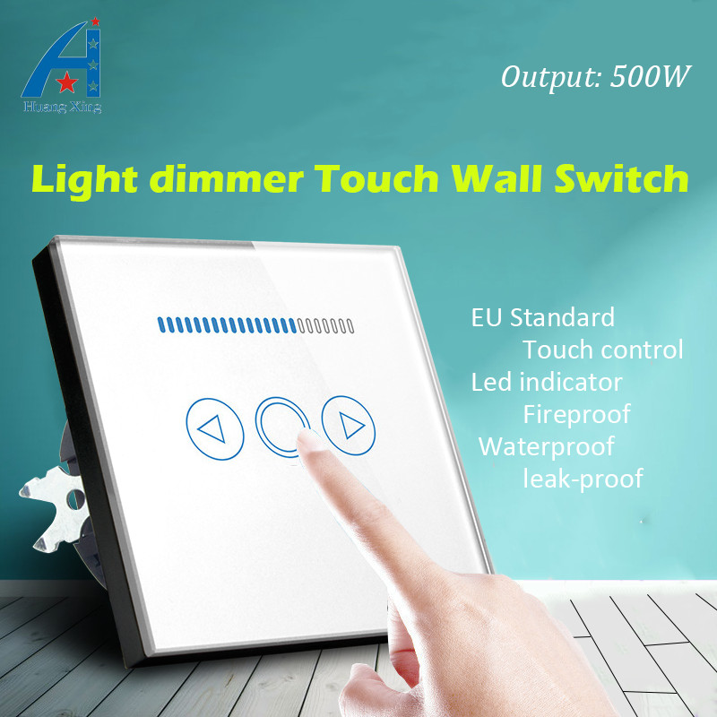 Light Dimmer switch and Crystal Glass Panel wall switch, EU standard 220V dimming lamp electric switch 500W, With Led indicator <br>