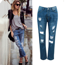 Olrain 2017 Female Beggars Women Spring and summer new hole jeans Make old polished Straight Legged Trousers Worn Big Code Jeans(China)