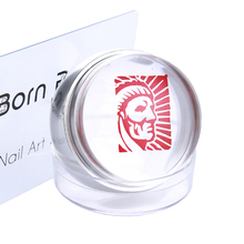 1 Pc Silver Red Metal Nail Stamper Clear Silicone Jelly Stamper Chess Design with Cap & 1 Pc BORN PRETTY Scraper Set Tool