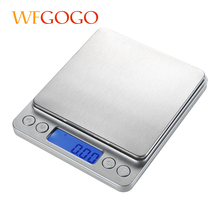 WFGOGO Digital Kitchen Scales Cooking Measure Tool Stainless Steel Electronic Weight Scale LCD Display Palm scales 3kg/0.1g(China)
