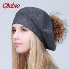 Geebro mujeres boinas sombrero de invierno de punto boinas de lana Natural  de piel de mapache pompón señoras Color sólido boina . a967b2cc72b