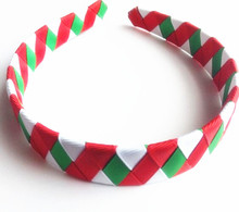 100pcs  DHL Free shipping  Red Green white silver metalic ribbon Christmas Peppermint Candy Woven  Headband