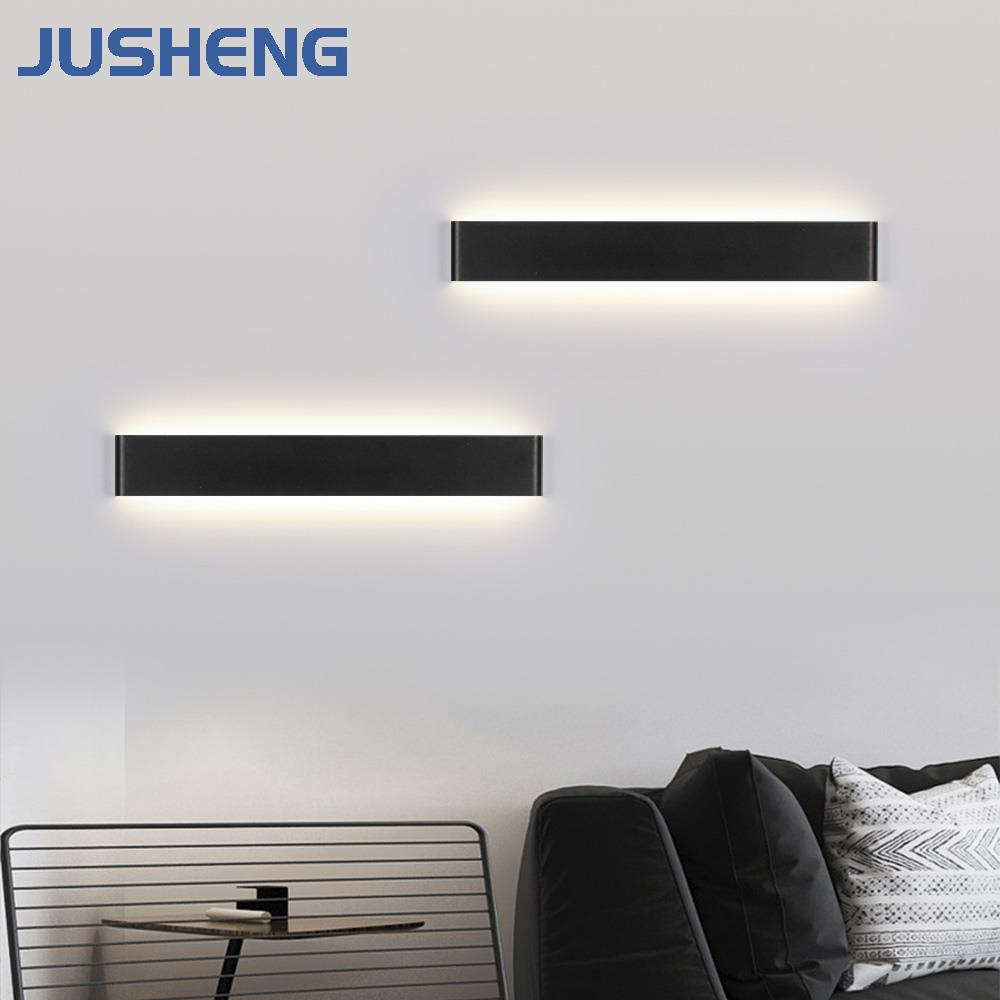 High Quality Indoor LED Wall Lights Modern Aluminum Black White Decor LED Mirror lamp Sconces Lighting Fixtures 9-44 inch 220V