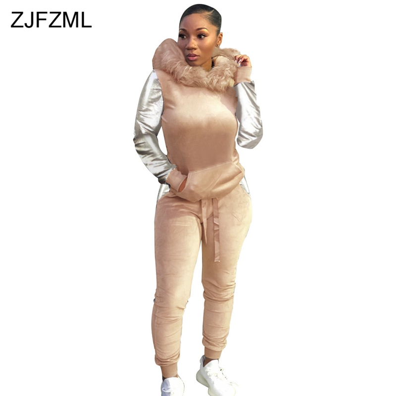 Warm Velour 2 Piece Matching Set Women Sequins Sleeve Faux Fur Hooded Sweatshirt+Fitness Pants Autumn Winter Velvet Sweat Suits