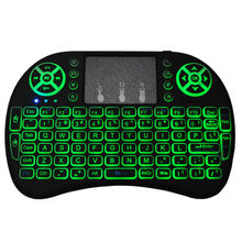 Original Backlit i8 3 color backlight English russian Spanish 2.4GHz Wireless Keyboard i8B Air Mouse Touchpad for Android TV BOX