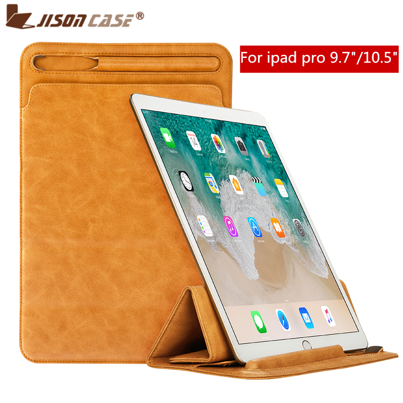 Jisoncase Leather Sleeve Case Pouch for iPad Pro 10.5 2017 Cover Soft Folding Sleeve Bag with Pencil Slot for iPad Pro 9.7
