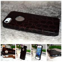 Hot i5/5s Brown snake skin of pu leather soft rubber tpu cover for iphone 5g 5s original cell phone bags case drop shipping