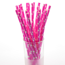 25pcs/lot Dot Chevron Pink Paper Drinking Straws Polka Dot Party Wedding kids birthday ecoration event supplies Straws