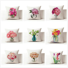 Free shipping/fashion modern flower vases, cotton and linen hold pillow cushion for leaning on of 43 * 43 no core