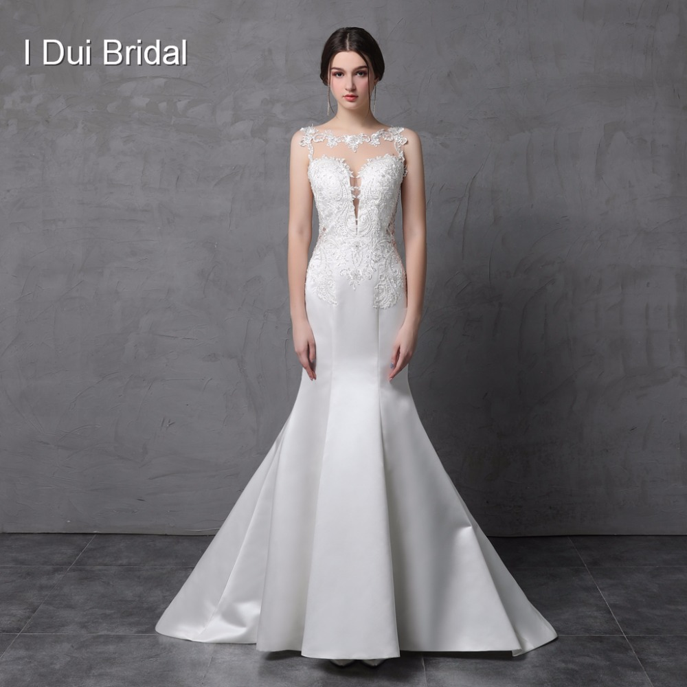 Satin Lace Mermaid Wedding Dress Illusion Back Sleeveless Bridal Gown Custom Make