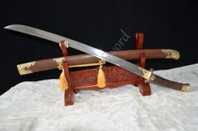 "37"" Chinese sword dragon qing dao folded steel FULL TANG SHARP DAMASCUS can cut bamboo tree"