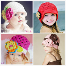 Fashion Autumn cute flower Baby Hat Cartoon pattern newborn Crochet Knitting Cap Photography Props Baby Hat handmade Beanies hat(China)