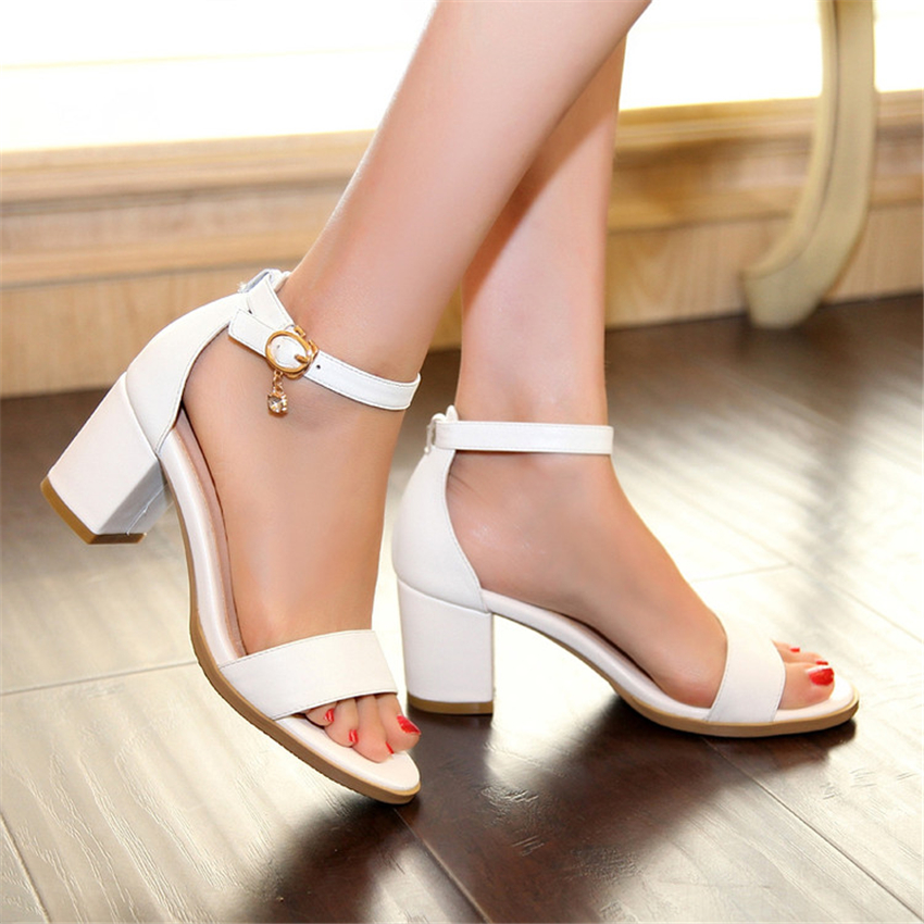 Sandals Genuine Leather New high heel 6CM Black White 33 40 41 42 43 44 EUR Size 32-45<br>