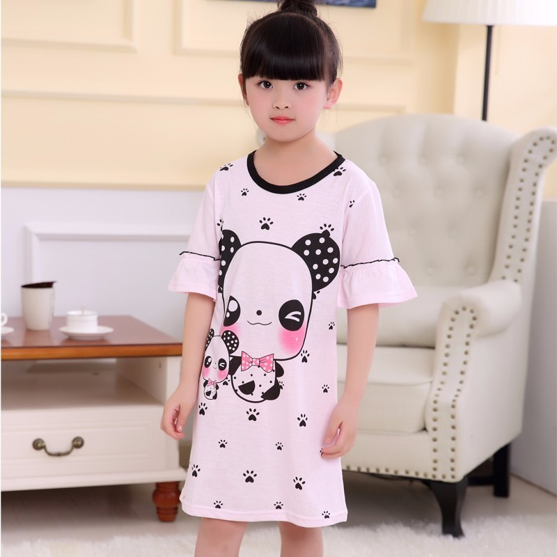 Girls Nightdress New 2018 Summer Fashion Princess Cartoon Dresses Kids SleepDress Cotton Children Nightgowns Flounce Girl Gift