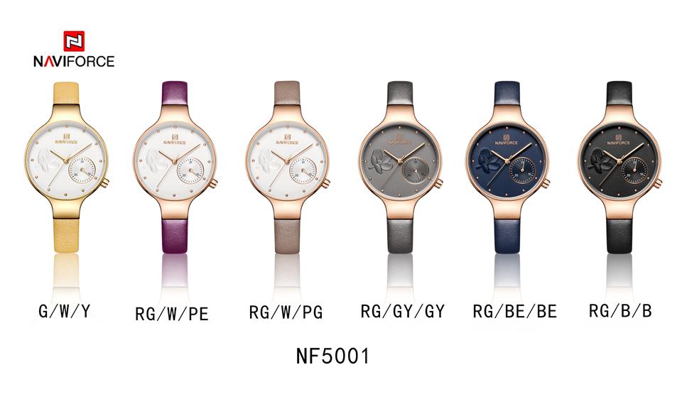 NAVIFORCE Women Fashion Blue Quartz Watch Lady Leather Watchband High Quality Casual Waterproof Wristwatch Gift for Wife 2019 - women-watches