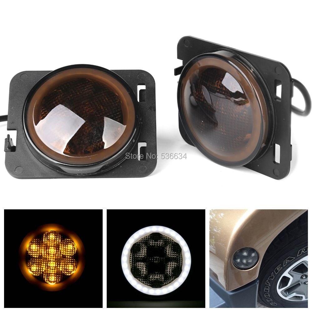 LED Side Maker Lights Amber Front Fender Flares Parking Turn Lamp Bulb Indicator Lens for jeep Wrangler JK <br>