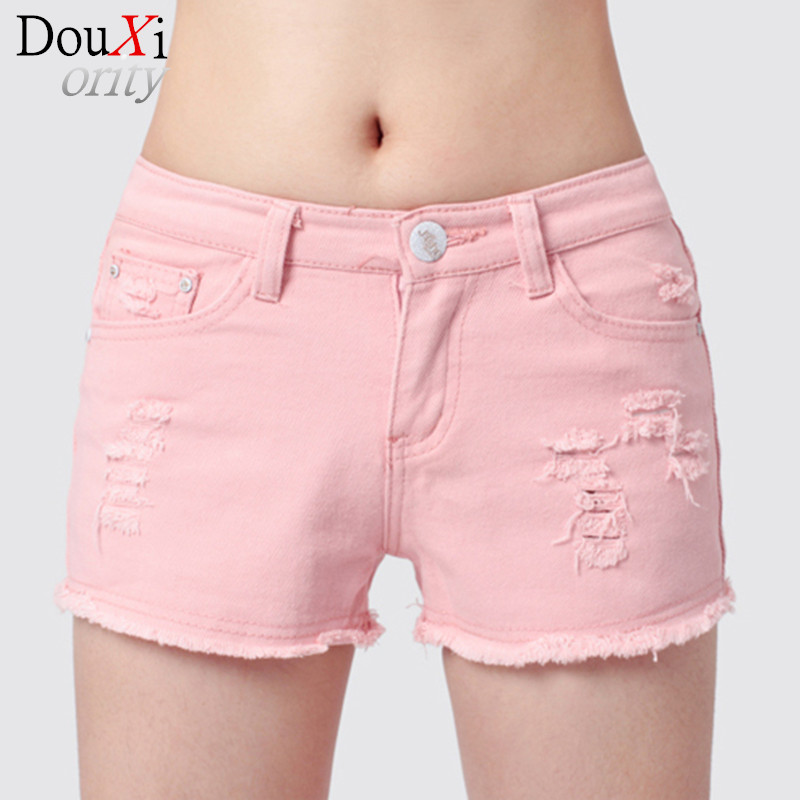 2017 Summer Denim Shorts Women Cotton Candy Color Short Jeans Sexy Shorts Low Waist  Straight Ripped women Shorts  jeans Одежда и ак�е��уары<br><br><br>Aliexpress
