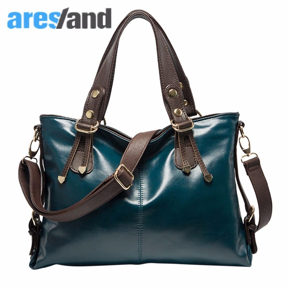 Aresland Fashion Oil Wax Cowhide Leather Tote Handbag Cross Body Bag Shoulder Bag Womens Bag<br>