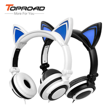 TOPROAD LED Lighting Cat Ear Headphone Flash Glowing Headset Folding Wired Stereo fone de ouvido Earphone for Phone PC Computer(China)