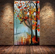 Big Size 100% Hand Painted Beautiful Maple Tree Road Avenue Landscape Palette Knife Painting On Canvas Wall Pictures Art