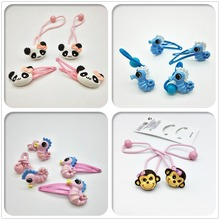 4PCS Cute kids animal Hairpins Girls Elastic Hair band toddlers hair clip ponytail holder Hair Accessories useful barrette T5