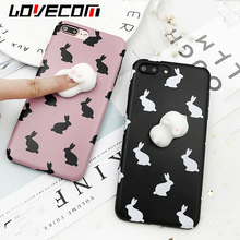LOVECOM New DIY Kneading Animal 3D Silicone Rabbit Squishy Toy For iPhone 6 6S Plus 7 7 Plus Decompression Soft IMD Phone Cases(China)