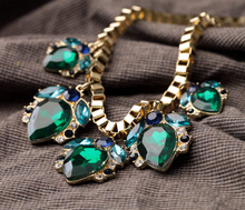 2014 new Korean jewelry wholesale new European style retro fashion droplets turquoise sweater chain necklace 12 pcs /lot