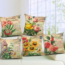 Showy and Colorful Cotton Linen Cushion Cover Vintage Style Flowers Pattern Quote Pillowcase Waist Throw Pillow Cover