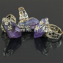 1PC New Natural Purple Crystal Quartz 24K Gold Lace Ring Beautiful Statement Stone Charm Temperament Engagement Ring Fewelry