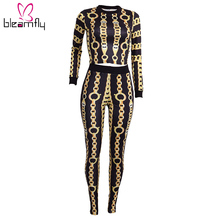 Autumn Clubwear Long Sleeve Women's Sets Yellow Chain Print Two Piece Tracksuits Slim Crop Top Pants Casual Sports Outfits Sets