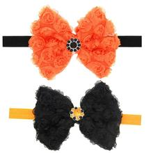 2pcs Baby Girl Toddler Funny Halloween Pumpkin Hair Band Crystal Hair Accessory(China)