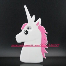 New 3D Silicone Unicorn Horses Lucky Cartoon Soft Cell Phone Back Skin Case Cover for iphone 4 iphone 4s(China)