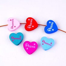 Free Shipping 20pcs Hot New Random Mixed Multicolor Cute Heart 'Prens' Wood Beads Jewelry Fashion DIY Craft 23x21mm