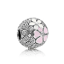 free shipping 2017 spring new pink Kapok flower big hole bead charms Fits European Pandora Charm Bracelets M002