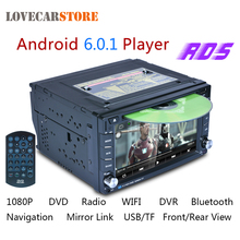 6.2 Inch 2 Din Android 6.0.1 Bluetooth Car DVD Player GPS Navigation 1080P Auto Stereo FM Radio Support Front Rear View Camera(China)