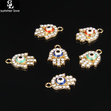 Buy 5Pcs Hamsa fatima hand enamel eye charm pendant bracelet jewelry metal alloy crystal charms lot diy jewelry making for $1.36 in AliExpress store