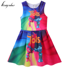 keaiyouhuo 2017 Summer Girls Trolls Dress For Girls Princess Party Dress Children Fancy Girls Christmas Costume For Kids Clothes