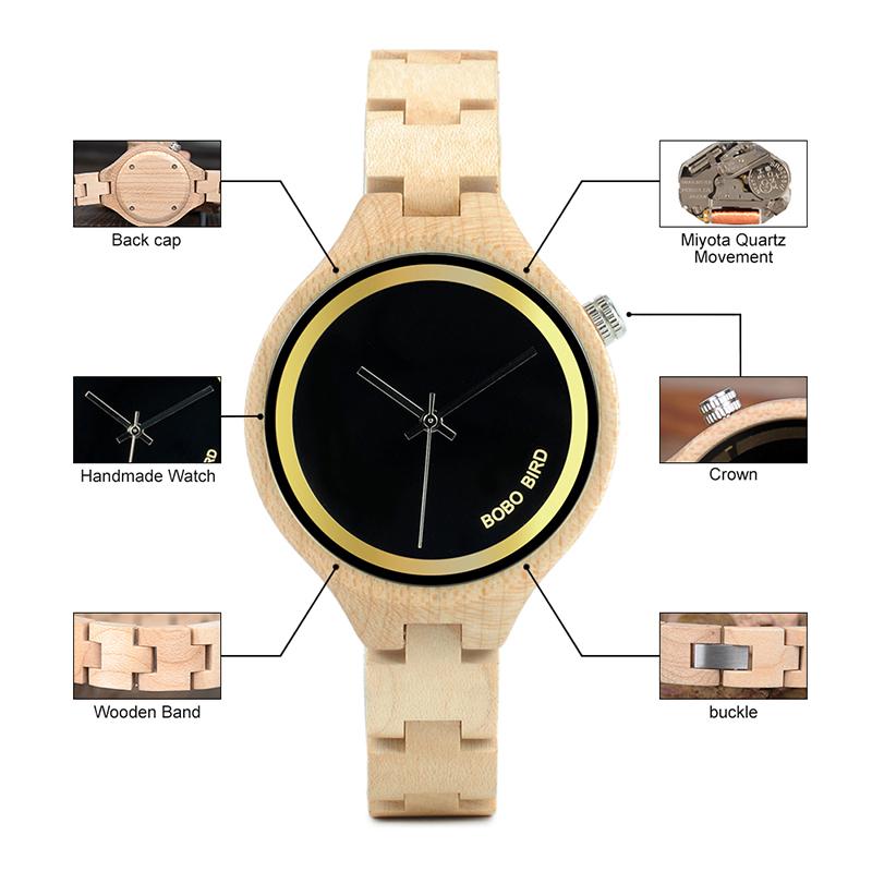 ساعة يد نسائية BOBO BIRD الخشبية الاصلية 14
