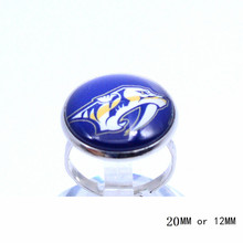 Nashville Predators Ring Ice Hockey Charms NHL Sport Jewlery Round Glass Dome Silver Plated  Ring For Women Girl Adjustable
